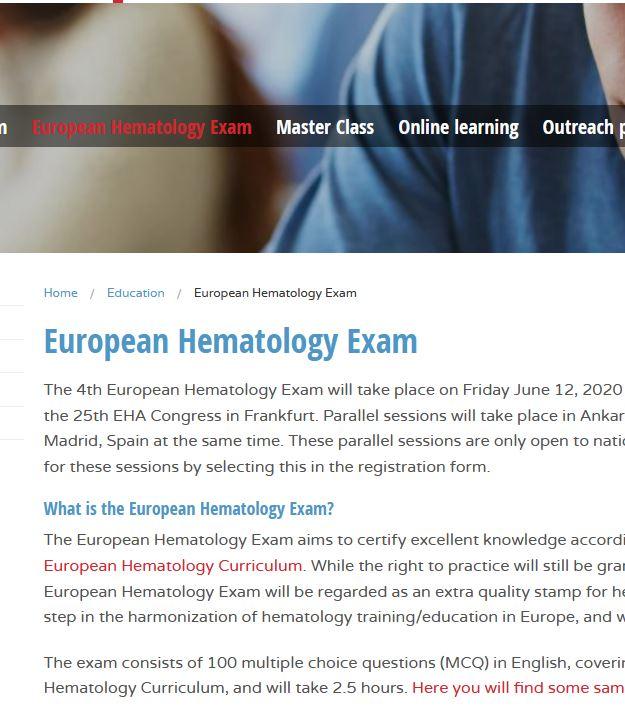 European Hematology Exam 2020